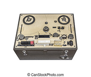 Old bobbin tape recorder isolated on a white background.