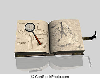 Old Book. - A digital rendering of an old book with...