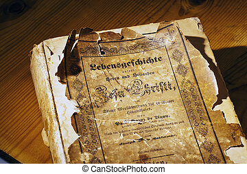 Old Book - An old book with religious texts about Jesus...