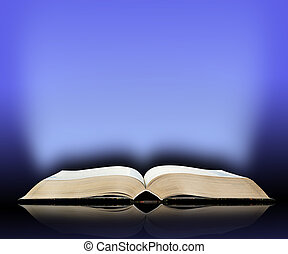 Old book, blue light background
