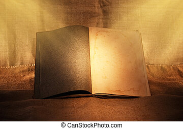 old book in evening ambient light