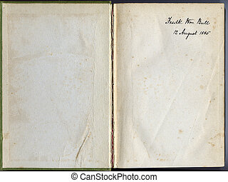 Old book, open.