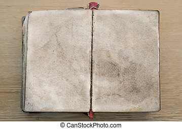 Old book, opened to blank pages.