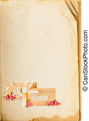 Old book page and invitation card