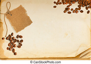 Old book page, coffee and cardboard blank