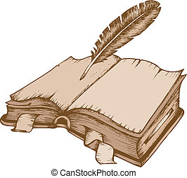Old book theme image 1 - vector illustration.