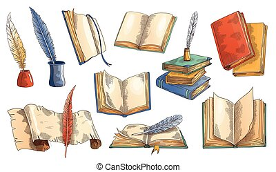 Old book. Vector set of old open books with empty page, ...