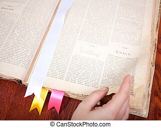 Old book with bookmarks