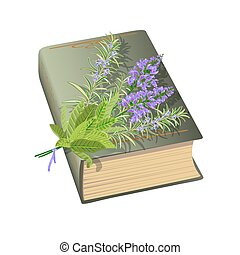Old book with bunch of flowers.