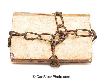old book with chain on white background