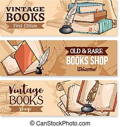 Old book with feather pen and inkwell banner set