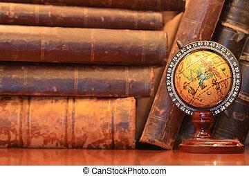 Old Books And Globe