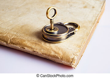 old books and key-lock