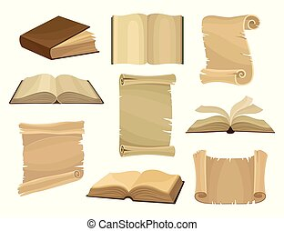 Old books and paper scrolls or parchments set vector Illustration on a white background