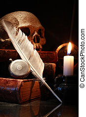 Old Books And Skull