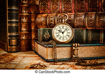 Old Books and Vintage pocket watch