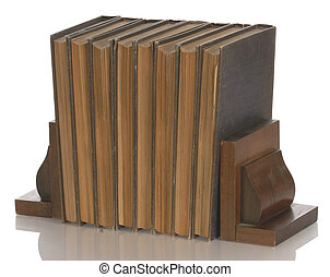 old books held up with wooden bookends with reflection on white background
