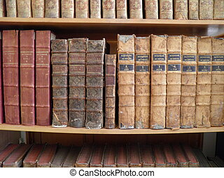 old books in a library shelf