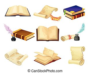 Old Books in Hard Cover with Pages and Scrolls with Quill ...