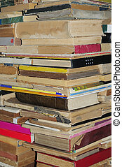 Old books pile background