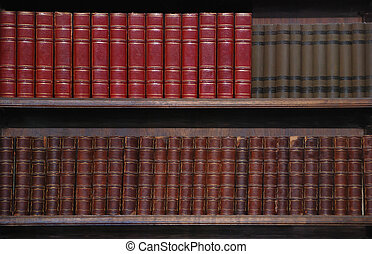 Two rows of old books on bookshelves.