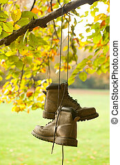 Old boots in the fall