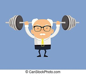 Old Boss Businessman - Doing Weight Lifting