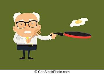 Old Boss Businessman - Preparing Food