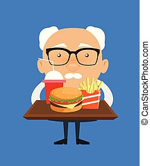 Old Boss Businessman - Presenting Fast Foods