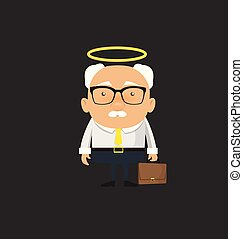 Old Boss Businessman - Standing and Smiling