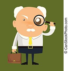 Old Boss Businessman - Watching with Magnifier