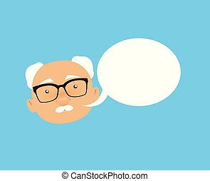 Old Boss Businessman - with Speech Bubble