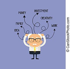 Old Boss Businessman - With Various Thoughts Illustration