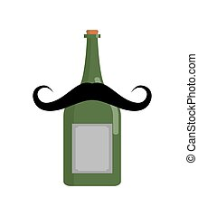 Old bottle of wine with mustache. Vintage alcohol isolated