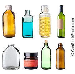 Old bottles. - Assorted old bottles, white background,...