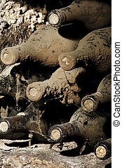 Old bottles in a cellar, covered with dust and cobwebs