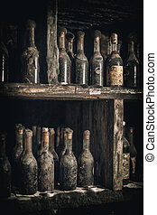 Old bottles of wine