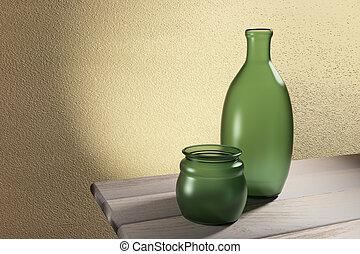 old bottles - 3d rendering of old bottles on a wood table
