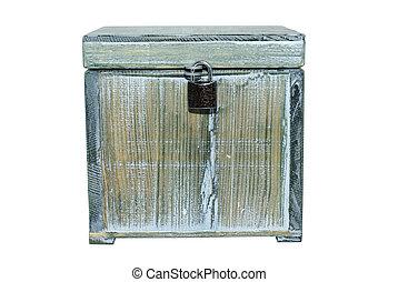 Old box locked with padlock isolated on white background.