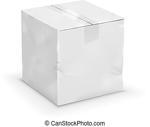 old box - Old cardboard worn taped up white box, vector...