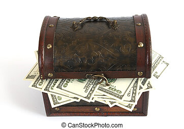money - old  box with money inside on white