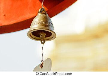 old brass Buddhist bell .