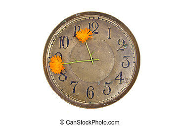 old brass clock face dial with two marigold flower arrows