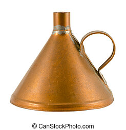 old brass funnel isolated on white background