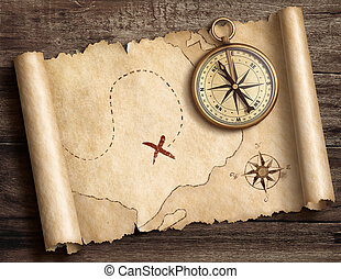old brass nautical compass on table with treasure map 3d illustration