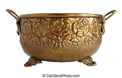 Old brass ornamental flowerpot