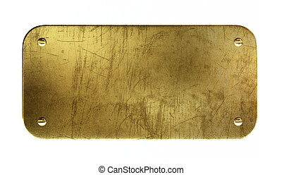Very high resolution 3d rendering of an old brass plaque.