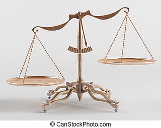 Old brass scales are tilted in one direction