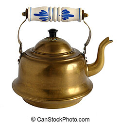 Old brass teapot with porcelain handle