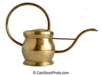Old brass watering can